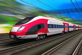A fast train zomming along